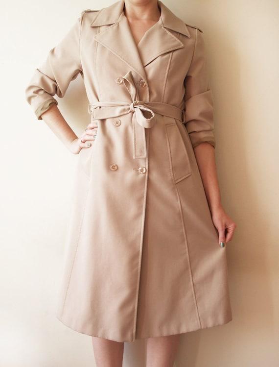 Trench Coat Vintage Rain or Shine Tan Khaki Small Medium