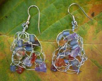 Crocheted wire beaded dangle earrings.