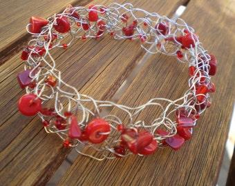 Sea Red. Crocheted wire beaded bracelet.