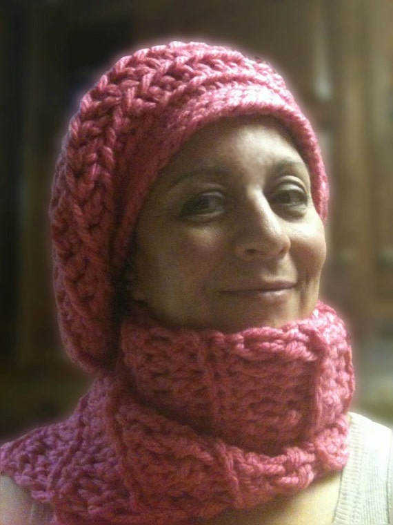 Big Slouchy Beret and Scarf Set in Honolulu Pink