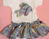 fishing lure onesie/ bodysuit with skirt/ MOVING SALE 30% OFF
