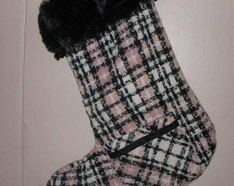 pink and black plaid x-mas stocking