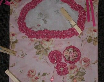 pink flowery clothes pin bag