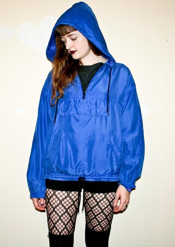 100% Silk Royal Blue Hooded Windbreaker