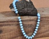 vintage blue beaded mad men  necklace