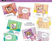 Coolest Kid In Class - four-pack Valentines Day exchange card templates - Luxe 5x5 templates - templates for phtographers