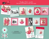 GINGHAM GIRLS -- 3x3 mini accordion book and 5x7 card template -- mini kit -- templates for photographers