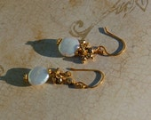 Earrings, White Coin Pearl, Gold Filled Wire