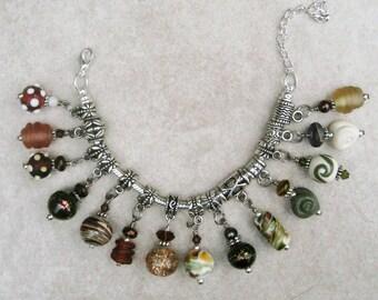 SALE Earth Tone Lampwork dangle charms for European style Bracelet Handmade Bead