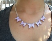 Five Butterfly Necklace decoupaged from cardstock