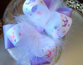 Boutique Bow Feather Princess Hair Clip Lavender White PinkChildren Kids Accessories - Ready to Ship (3)