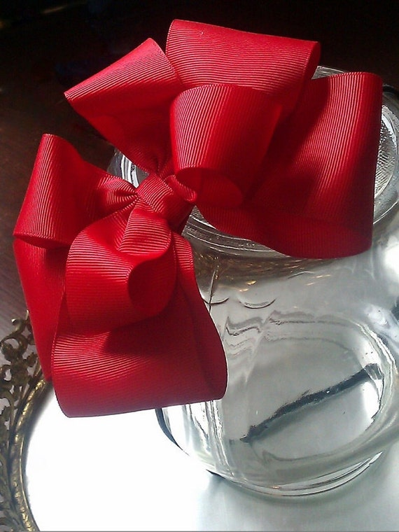 Extra Large Bow Headband Fascinator in Red Boutique Photo Prop Modern Belle