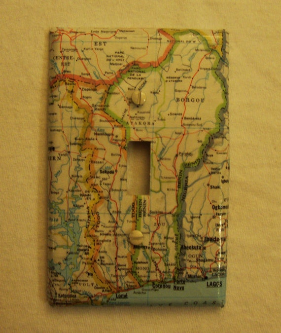 Map covered light switch plate, Benin and Togo