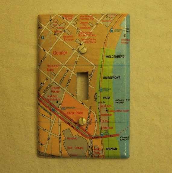 Map covered light switch plate, New Orleans (French Quarter)