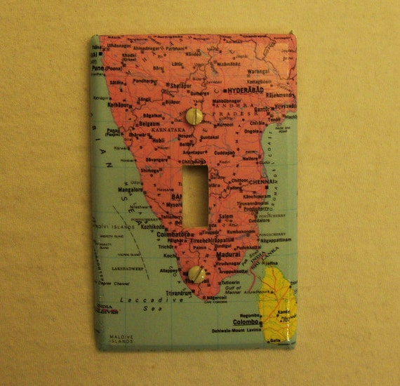 Map covered light switch plate, Southern India