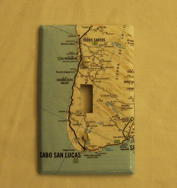 Map covered light switch plate, Cabo San Lucas Mexico