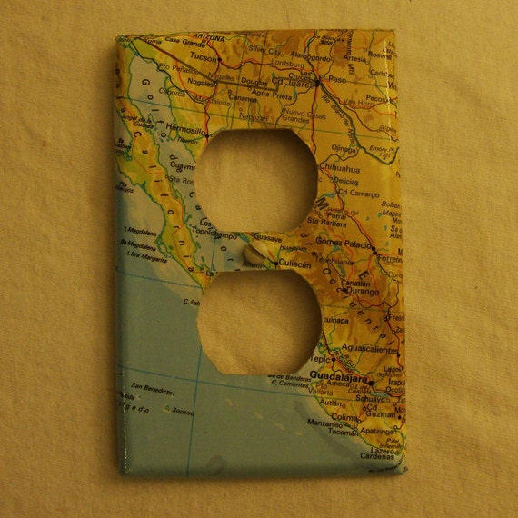 Map covered outlet plate. Western Mexico