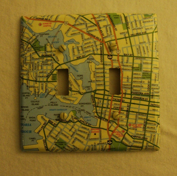 Map covered double light switch plate, Victoria (British Columbia)