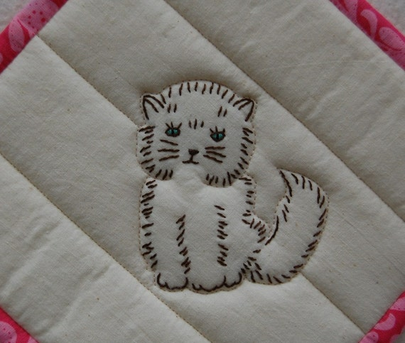 Hand Embroidered Quilted Kitten Pot Holder