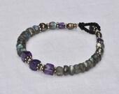 Deep purple stone bracelet Sterling Silver - Amethyst Labradorite black Pearls - macrame - elegant