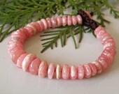 Reserved :Pink stone bracelet - genuine Rhodochrosite smooth discs - brown macrame - Tribal jewelry - Shambhala bracelet