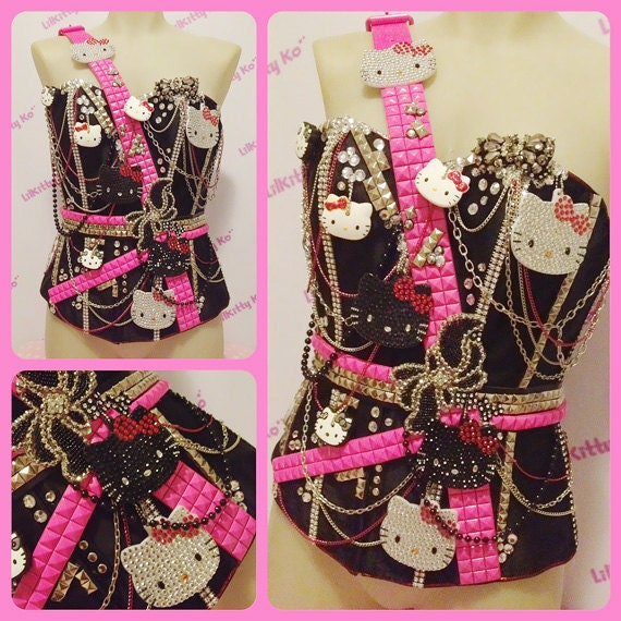 Custom Order for Flo He - Hello Kitty Studs and Chains Sparkly Corset