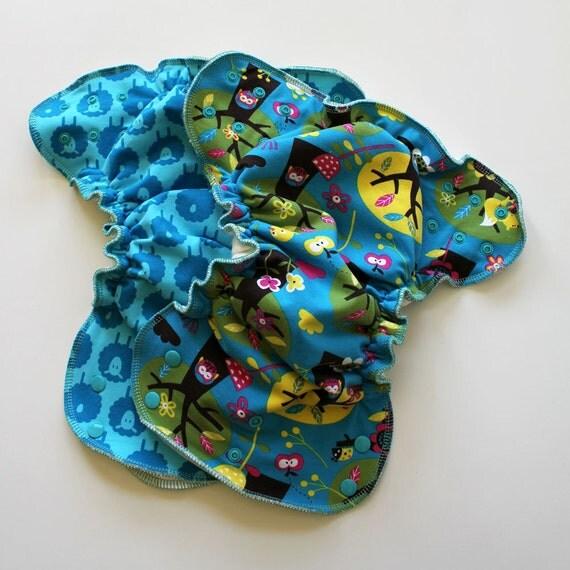 2 Newborn Organic printed diapers Fitted diaper/cloth diaper/newborn diaper