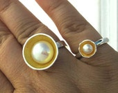 Large White Real Cultured Pearl Ring Fine Silver 18k Yellow Gold Vermeil Accent handmade cup sizes 6 6.5 7 fine jewelry