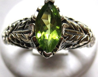 Marquise Cut Green Peridot Sterling Silver Ring Leaf Pattern Band Diamond Accents handmade fine jewelry custom sizes 4 5 6 7 8 9 half