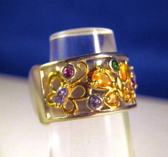 Gemstone Butterflies Ring in sterling