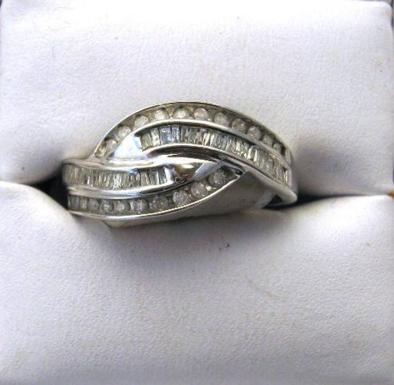 Hold for Caitie/ Half Carat Baguette and Round Diamond ring in 10kwg