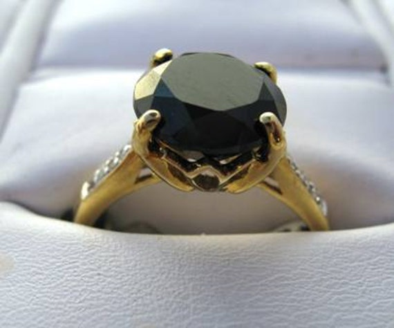 Faceted Black Onyx Ring with diamonds and 10kyg