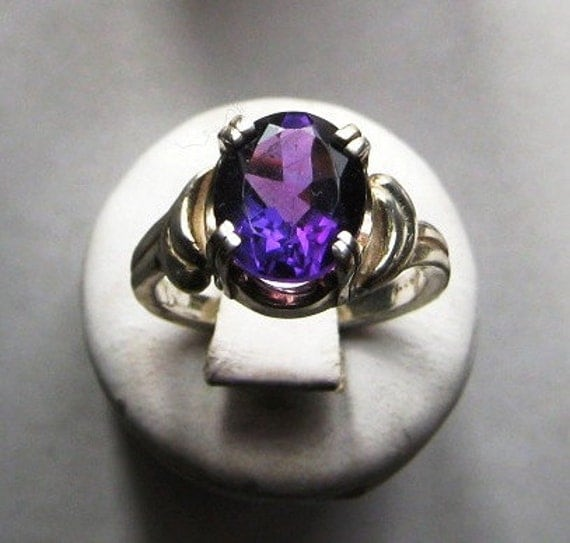 Purple Amethyst Ring Sterling Silver Large gemstone handmade fine jewelry Pale Green Prasiolite size 4 4.5 5 5.5 6 6.5 7 7.5 8 8.5 9 9.5 10