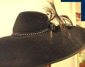 Vintage, Woman's Dramatic Black Wool Hat