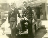 RESERVED FOR ENJOI1  - Vintage Photo - JUST US GUYS - Military guy with his hand on his buddies leg
