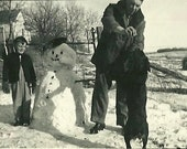 Vintage 1940s Photo - Frosty & Fido - A little boy with his snowman and dog