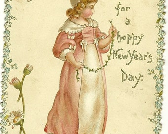 Vintage Postcard/Card - 1900's - FOND GREETINGS - For A Happy New Year's Day