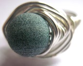 Green Agate Wire Wrapped Ring Stone Unisex Jewelry