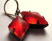 Red Earrings Retro Flame Frosted Glass Fashion Jewelry