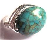 Wire Wrap Ring Turquoise Stone Unisex Fashion Jewelry