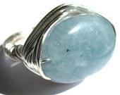 Aquamarine Wire Wrapped Ring Blue Stone Fashion Jewelry