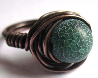 Green Crackle Agate Wire Wrapped Ring Fashion Jewelry