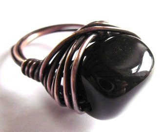 Black Onyx Nugget Antiqued Brass Wire Wrapped Ring Fashion Jewelry