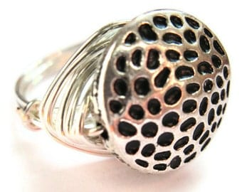 Textured Silver Wire Wrapped Ring Unisex Fashion Jewelry
