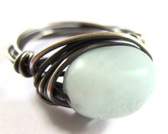 Amazonite Sterling Silver Ring Wire Wrapped Ring Blue Gemstone Fashion Jewelry