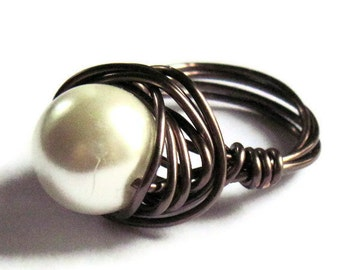 Wire Wrapped Ring Cream Glass PearlFashion Jewelry