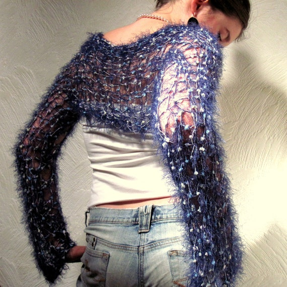 Blue Hand Knitted Shrug Fashion Clothing