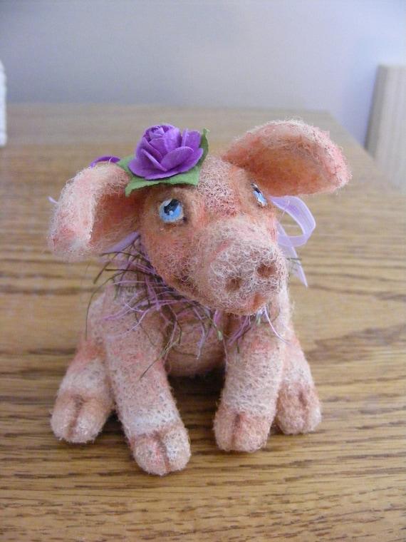Needle Felted Petunia Piggy