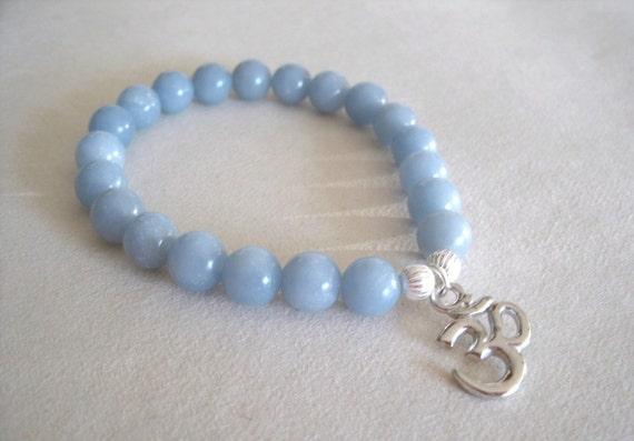 OM Bracelet Wrist Mala - Peace and Meditation with Angelite and Ohm Charm