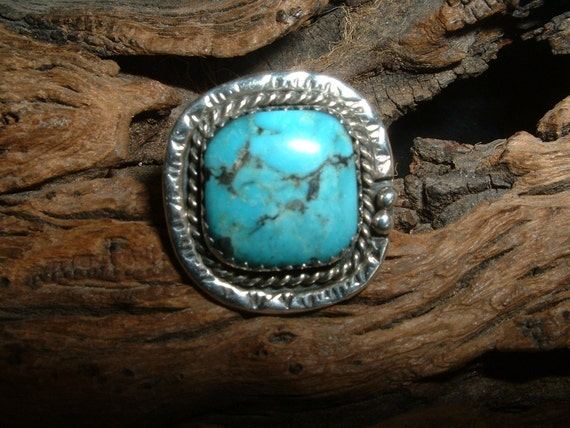 30% OFF SALE Navaho Square Turquoise and Silver Ring